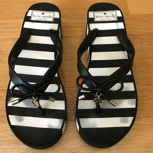Kate Spade New York Black & White Wedge Sandals